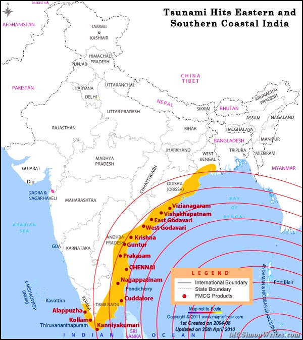 Tsunami hits coastal India